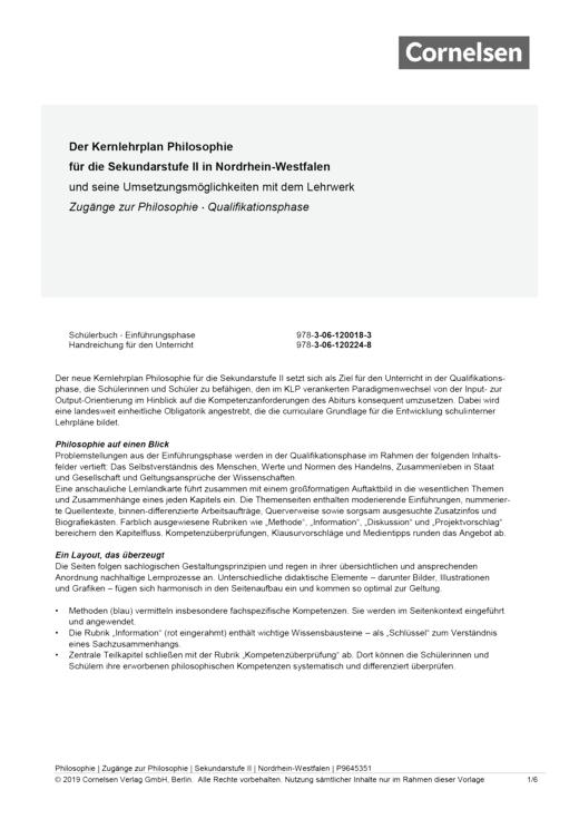 Zugänge zur Philosophie - Synopse Zugänge zur Philosophie für die Qualifikationsphase NRW - Synopse - Webshop-Download