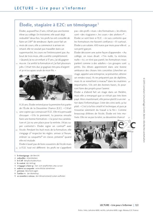 À toi ! - Arbeitsblätter zur Lecture 3: Élodie, stagiaire à E2C: un témoignage - Arbeitsblatt - Webshop-Download