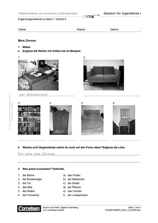 prima plus prima plus a1 2 einheit 8 mein zimmer arbeitsblatt webshop download cornelsen. Black Bedroom Furniture Sets. Home Design Ideas