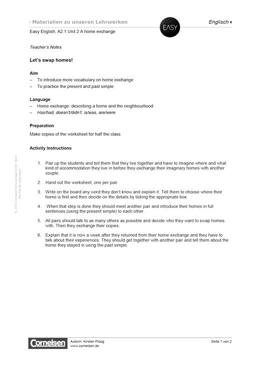 Easy English - Easy English A2.1 Unit 2: Let's swap homes! - Arbeitsblatt - Webshop-Download