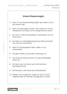 Klassenregeln zur Arbeit mit der Klasse - Editierbare Kopiervorlage