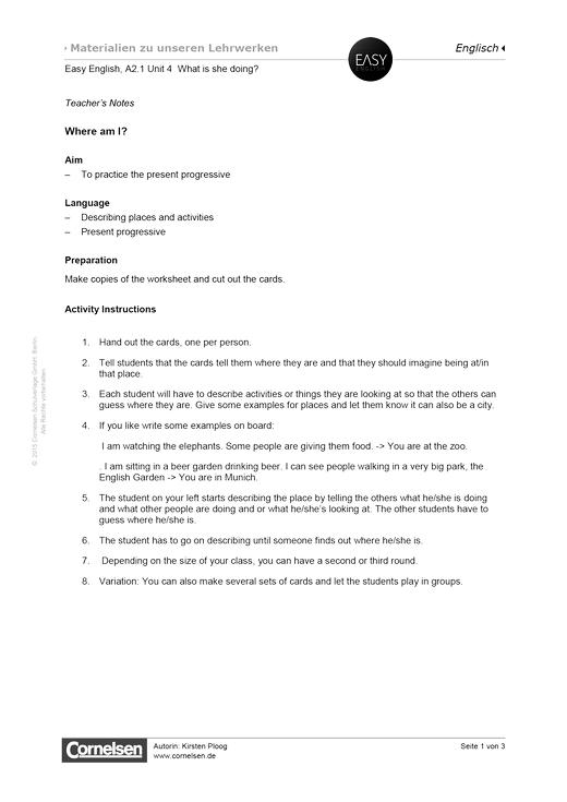 Easy English - Easy English A2.1 Unit 4: Where am I? - Arbeitsblatt - Webshop-Download