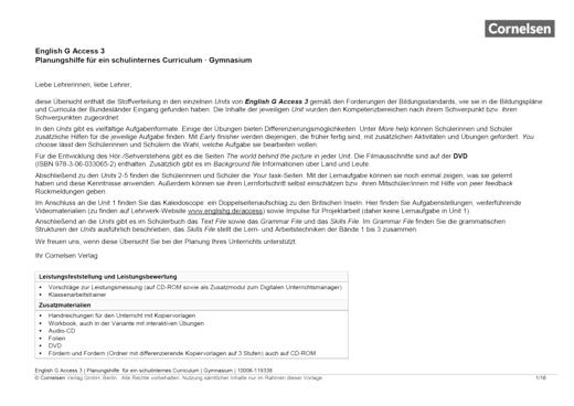 English G Access - Planungshilfe für ein schulinternes Curriculum - Band 3: 7. Schuljahr