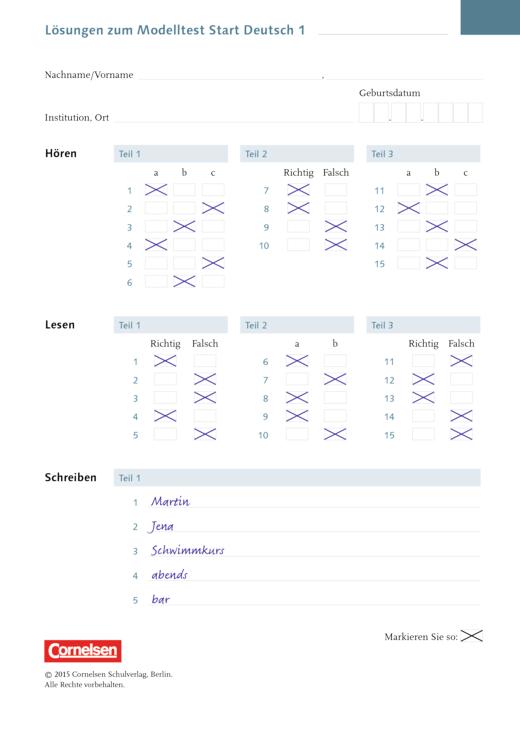 Panorama - Lösungen zum Panorama Modelltest Start Deutsch 1 - Lösungen - Webshop-Download