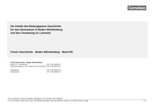 Forum Geschichte - Neue Ausgabe - Planungshilfe für einen Stoffverteilungsplan - 5./6. Schuljahr