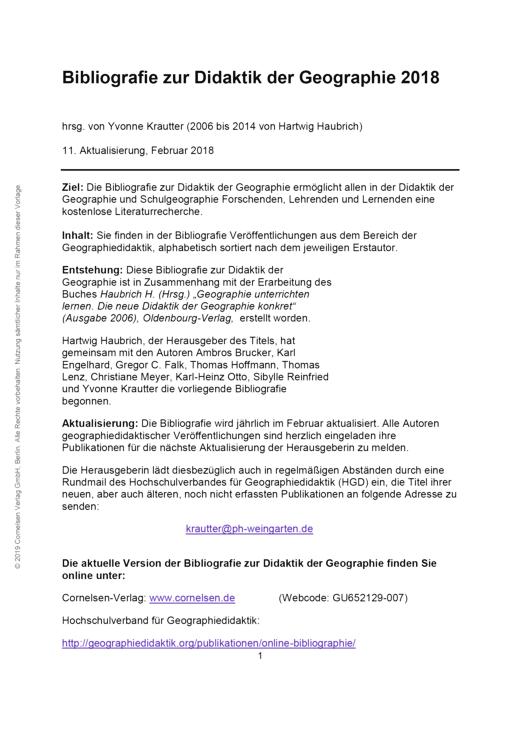 Geographie unterrichten lernen - Bibliografie zur Didaktik der Geographie 2017 - Didaktische Fachinfo