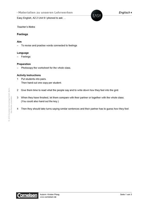 Easy English - Easy English A2.2 Unit 9: Feelings - Arbeitsblatt - Webshop-Download