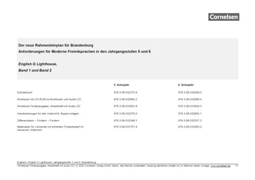 English G Lighthouse - Synopse zum neuen Rahmenlehrplan Brandenburg - Band 2: 6. Schuljahr