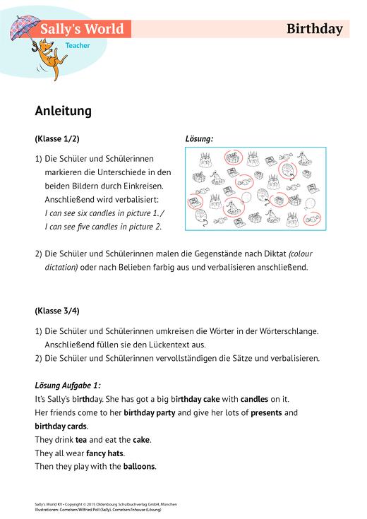 Sally - Birthday - Arbeitsblatt