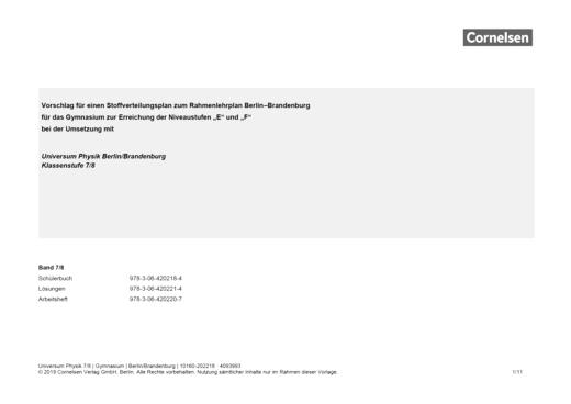 Universum Physik - Stoffverteilungsplan - 7./8. Schuljahr