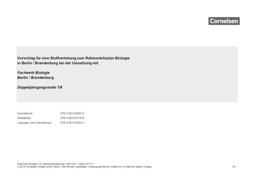 Fachwerk Biologie - Vorschlag zur Stoffverteilung mit Fachwerk Biologie 7/8 in Berlin und Brandenburg - Stoffverteilungsplan - 7./8. Schuljahr