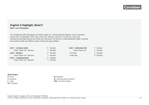 English G Highlight - Stoffverteilungsplan - Band 5: 9. Schuljahr