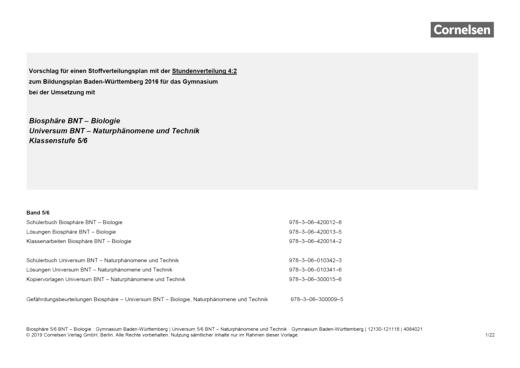 Universum Physik - Vorschlag für ein Schulcurriculum Stundenverteilung 4:2 - Stoffverteilungsplan - 5./6. Schuljahr: BNT - Naturphänomene und Technik