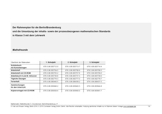 Mathefreunde - Synopse für Berlin und Brandenburg - 3. Schuljahr