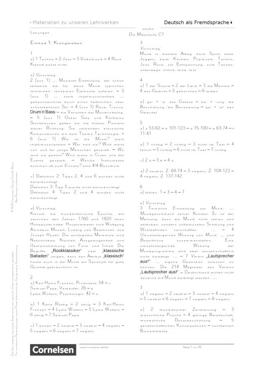 Studio: Die Mittelstufe - Lösungen zum Übungsbuch - C1