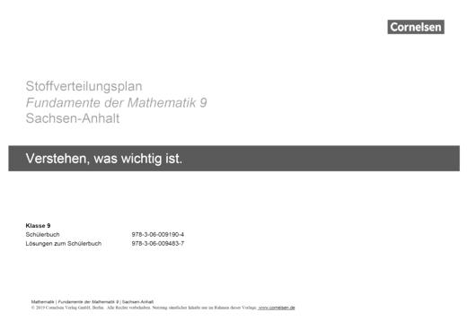Fundamente der Mathematik - Stoffverteilungsplan 9 - Fundamente der Mathematik Sachsen-Anhalt - Stoffverteilungsplan - 9. Schuljahr