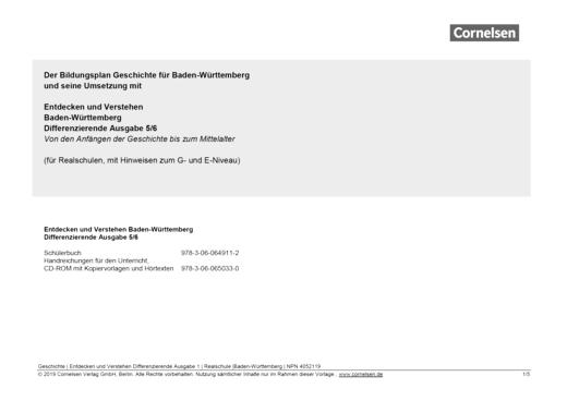 Entdecken und verstehen - Planungshilfe für Realschulen - Band 1: 5./6. Schuljahr