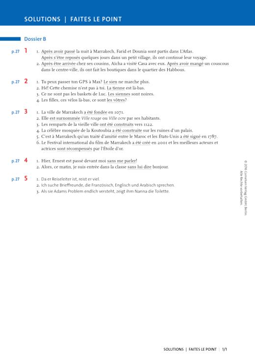 À plus ! - Faites le point Dossier B - Lösungen - Charnières