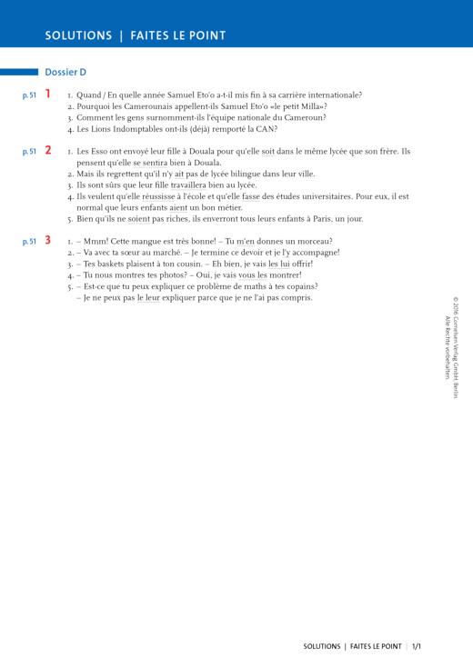 À plus ! - Faites le point Dossier D - Lösungen zum Lehrwerk À plus ! Charnières. - Lösungen - Webshop-Download
