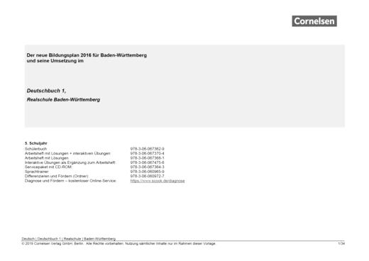 Deutschbuch - Der Einsatz von Deutschbuch Differenzierende Ausgabe Baden-Württemberg 1 und Deutschbuch Differenzieren und Fördern 5/6 - Synopse - Band 1: 5. Schuljahr