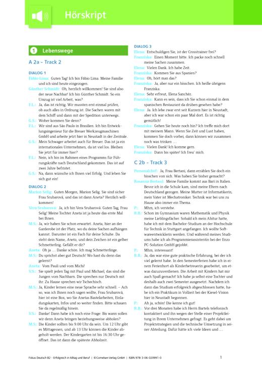 Fokus Deutsch - Hörtexte zum Kurs- und Übungsbuch Fokus Deutsch – Erfolgreich in Alltag und Beruf/B2 (Ausgabe für Deutschland) - Hörtext - B2