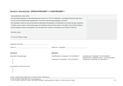 Sprachfreunde - Synopse/Arbeitsplan Sprachfreunde und Lesefreunde - Klasse 3 - Synopse - 3. Schuljahr