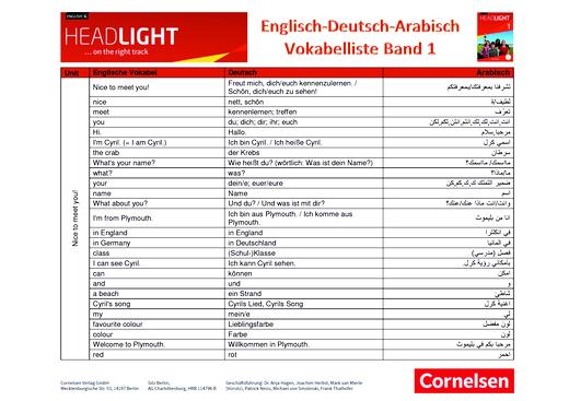 English G Headlight - Wortliste - Band 1: 5. Schuljahr