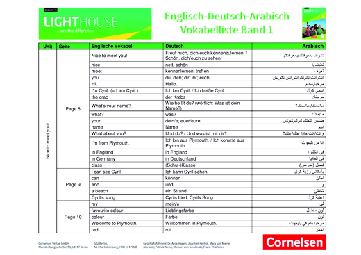 English G Lighthouse - Wortliste - Band 1: 5. Schuljahr