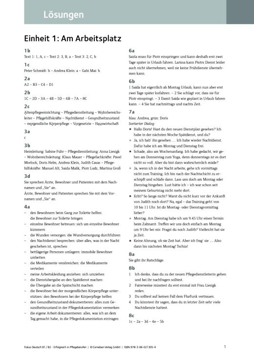 Fokus Deutsch - Lösungen zum Kurs- und Übungsbuch Fokus Deutsch – Erfolgreich in Pflegeberufen B1/B2 - Lösungen - B1/B2