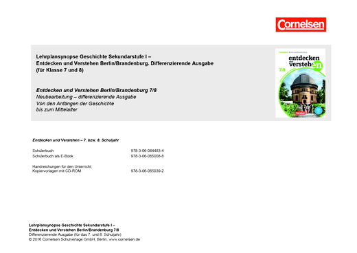 Entdecken und verstehen - Planungshilfe - 7./8. Schuljahr
