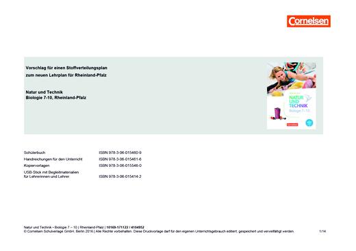 Natur und Technik - Biologie Neubearbeitung - Vorschlag für einen Stoffverteilungsplan - Natur und Technik Biologie 7-10 - für Rheinland-Pfalz - Stoffverteilungsplan - 7.-10. Schuljahr
