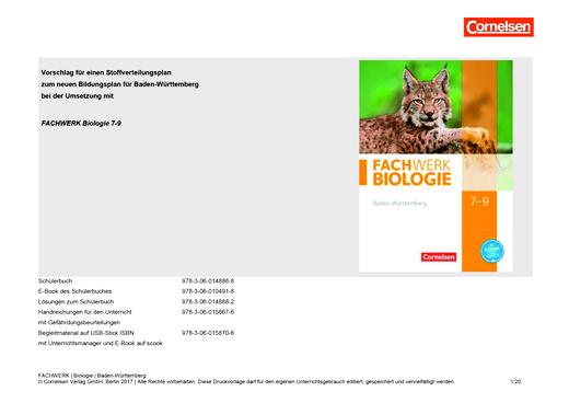 Fachwerk Biologie - Stoffverteilungsplan zum neuen Bildungsplan - 7.-9. Schuljahr