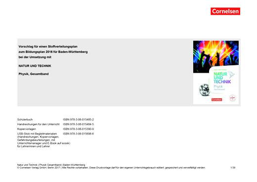 Natur und Technik - Physik Neubearbeitung - Stoffverteilungsplan für Baden-Württemberg - Gesamtband