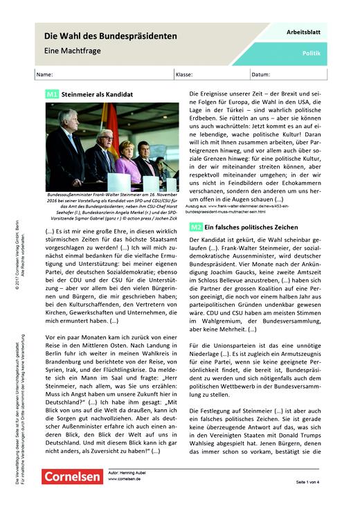 Die Wahl des Bundespräsidenten – Eine Machtfrage - Arbeitsblatt