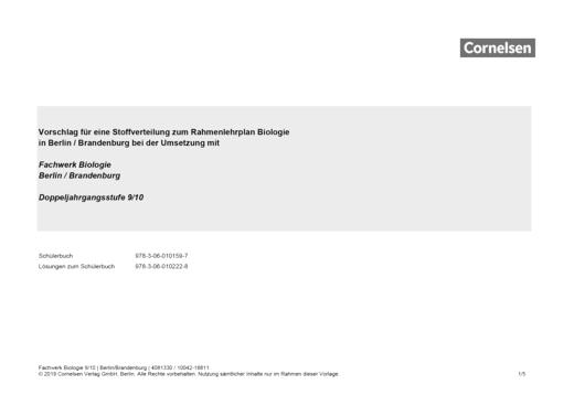 Fachwerk Biologie - Vorschlag für eine Stoffverteilung zum Rahmenlehrplan Berlin/Brandenburg bei der Umsetzung mit Fachwerk Biologie 9/10 - Synopse - 9./10. Schuljahr