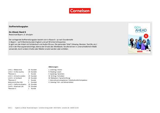 Go Ahead - Stoffverteilungsplan zu Go Ahead, Band 6 Realschule Bayern, 6. Schuljahr Passend zum LehrplanPLUS - Synopse - 6. Jahrgangsstufe