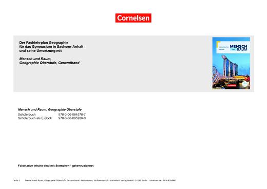 Mensch und Raum - Mensch und Raum, Gesamtband Oberstufe: Planungshilfe für einen Stoffverteilungsplan, Sachsen-Anhalt - Planungshilfe - Oberstufe - Gesamtband