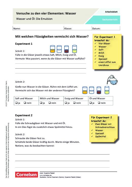 Versuche zu den vier Elementen: Wasser - Arbeitsblatt