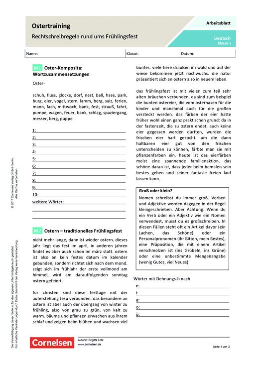 Ostertraining – Rechtschreibregeln rund ums Frühlingsfest - Arbeitsblatt