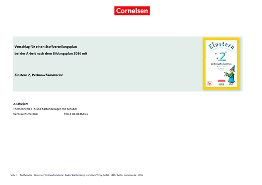 Einstern - Einstern 2 Verbrauchsmaterial – Stoffverteilungsplan zum Bildungsplan Baden-Württemberg - Stoffverteilungsplan - Band 2