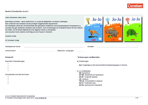 Jo-Jo Sprachbuch - Jo-Jo 2 – Stoffverteilungsplan Jo-Jo Lesebuch, Sprachbuch und Sachbuch - Synopse - 2. Schuljahr