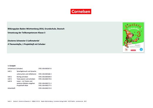 Einsterns Schwester - Synopse zum Bildungsplan Baden-Württemberg (Ausleihmaterial) - 3. Schuljahr