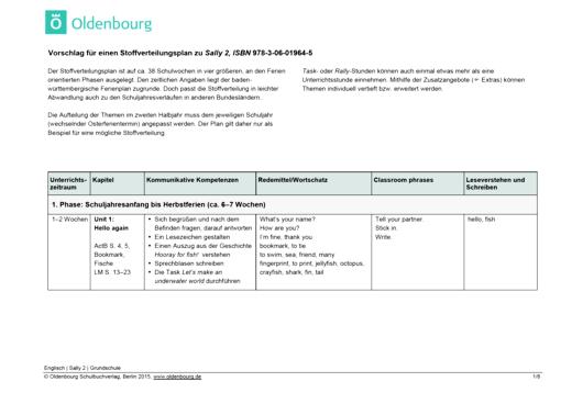 Sally - Stoffverteilungsplan zum Bildungsplan Baden-Württemberg - 2. Schuljahr