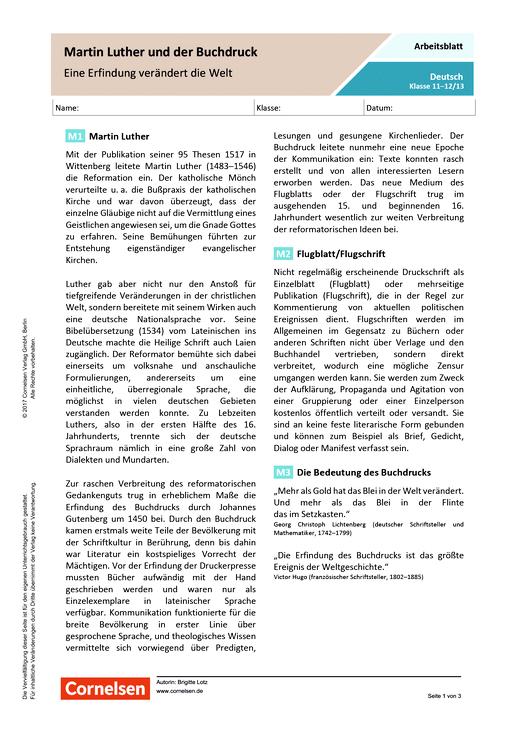 Martin Luther und der Buchdruck - Eine Erfindung verändert die Welt - Arbeitsblatt