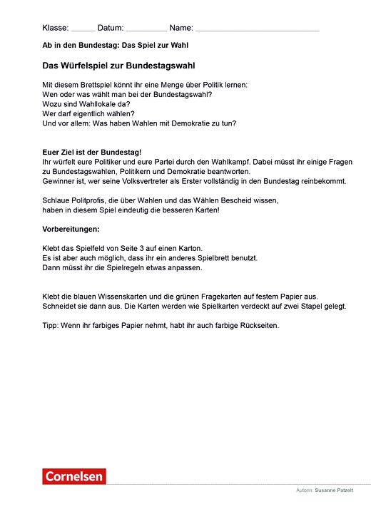 Ab in den Bundestag: Das Spiel zur Wahl - Arbeitsblatt - Webshop-Download