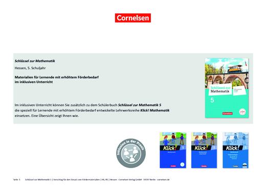 Schlüssel zur Mathematik - Schlüssel zur Mathematik Hessen 5 - Materialeinsatz für einen inklusiven Unterricht - Synopse - Webshop-Download