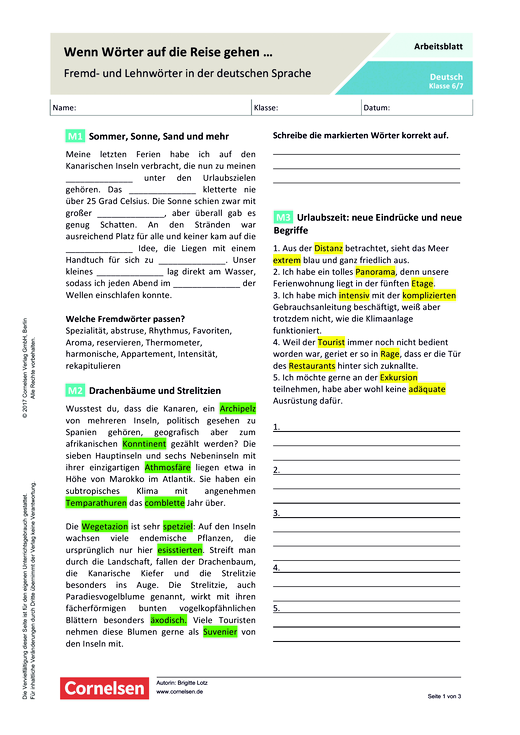Wenn Wörter auf die Reise gehen ... - Fremd- und Lehnwörter in der deutschen Sprache - Arbeitsblatt