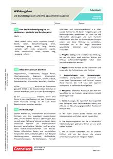 Wählen gehen - Die Bundestagswahl und ihre sprachlichen Aspekte - Arbeitsblatt