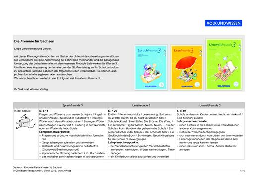Umweltfreunde - Sprach-, Lese- und Umweltfreunde 3 - Planungshilfe für Sachsen - 3. Schuljahr