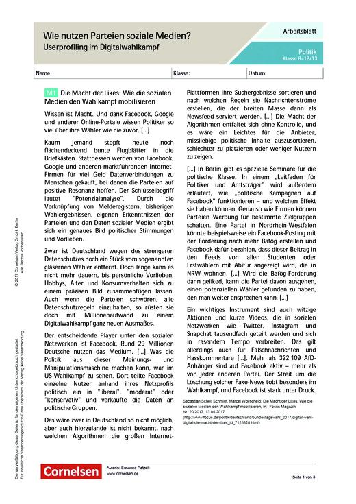 Wie nutzen Parteien soziale Medien? Userprofiling im Digitalwahlkampf - Arbeitsblatt - Webshop-Download